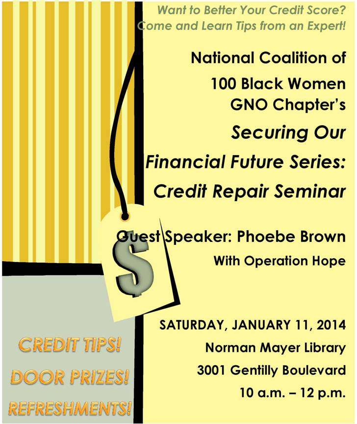 NCBW Financial Literacy- Credit Repair Seminar Flyer3
