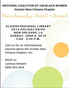 National Coalition of 100 Black Women, GNO Chapter Membership Meet & Greet June 9, 2019 @ Algiers Regional Library | New Orleans | Louisiana | United States